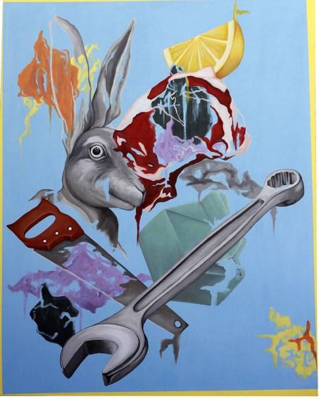 """Bleu Paradisiaque"". 2015 Caroline Gagné. 60"" x 48"" Acrylique sur toile"