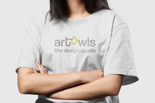 ArtOwls Logo Girl TShirt Mockup