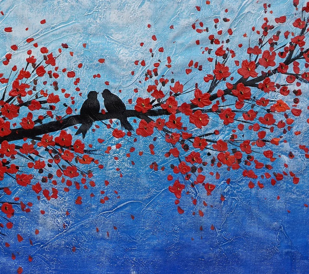abstract art, oil painting, wall art, love birds painting, canvas