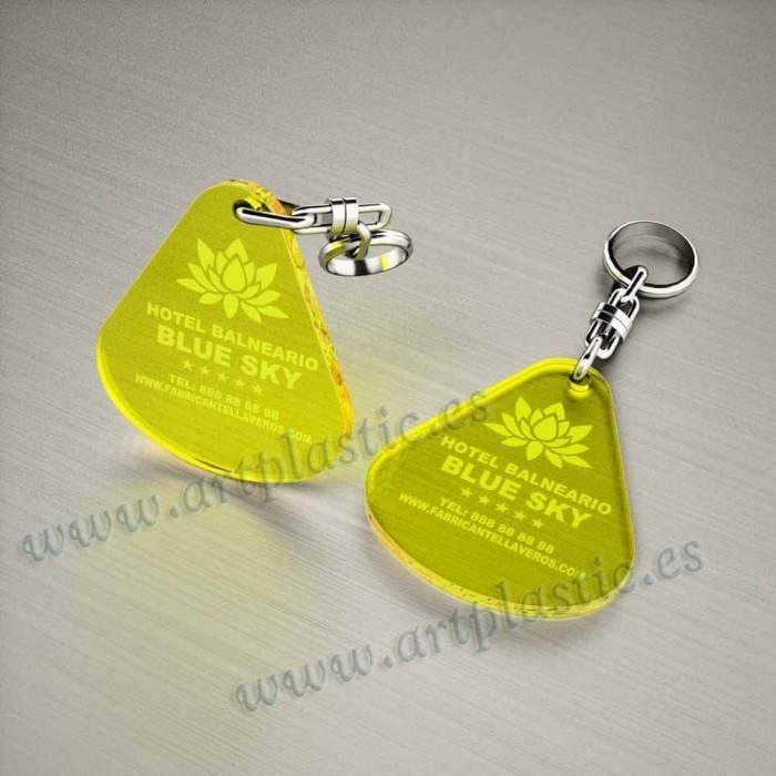 llaveros personalizados amarillos baratos gota grandes