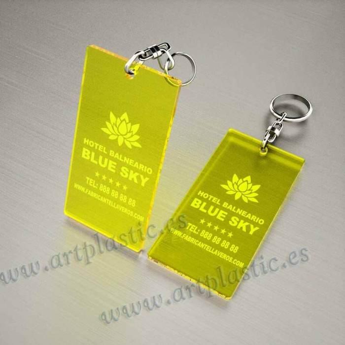 llaveros personalizados amarillos baratos rectangulares 100x60