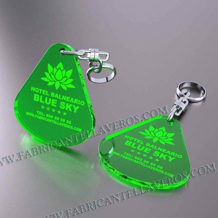 llaveros personalizados verdes baratos gota grande
