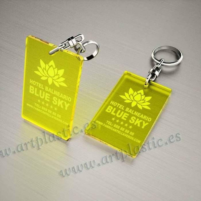 llaveros plastico personalizados originales amarillos baratos rectangulares 80x50