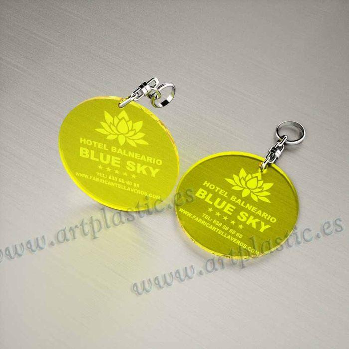 llaveros plastico personalizados originales amarillos baratos redondos 50x50