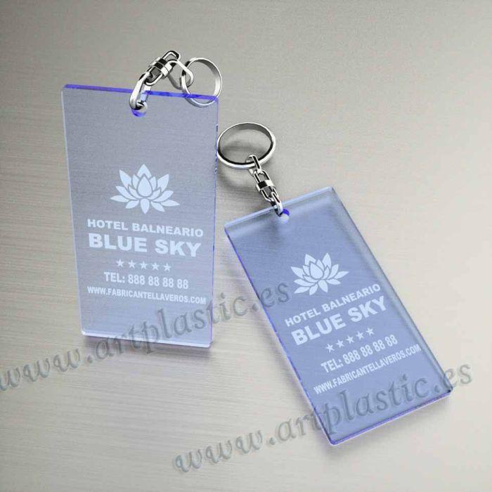 llaveros plastico personalizados originales azules baratos rectangulares 100x60