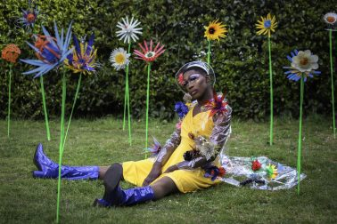 Sian Dorman - Costume Designer & Artist. From postponed Bedroom Artists- 'New Beginnings'. -Quarantine Jungle. Made in Lockdown-1 while in isolation solely from collected plastic rubbish. Part of Artquest project The Light of Day.