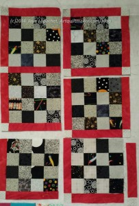 Sew cornerstone #32 to sashing #33. Now sew combined piece #32-33 to block #28.