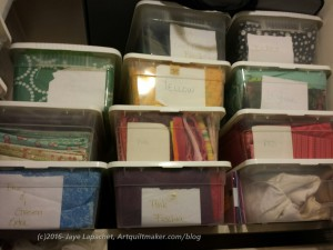Organization of Fabric Closet: Plastic Bins