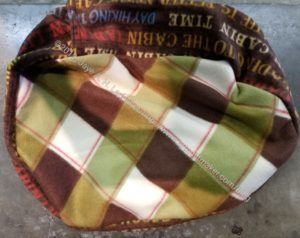 Pet Bed - olive and brown plaid
