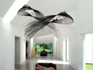 "FANTAIL Like two male Birds of Paradise showing off in the rain forest of Papua New Guinea. Dimensions 1450 L x 760 W x 860 H | 4' 10"" L x 2' 6"" W x 2' 10"" H Material Wicker, acrylic Lighting LED bipins"