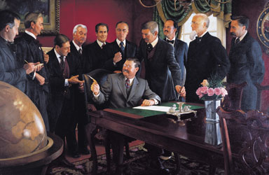 Mike Wimmer's 2003 painting of President Theodore Roosevelt's signing of the proclamation that made Oklahoma a member of the union. Oklahoma Arts Council image.