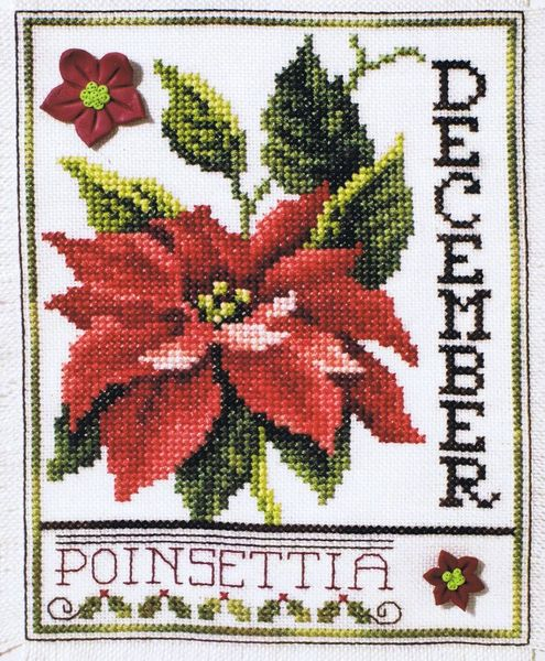 Flowers Of The Month December Poinsettia Cross Stitch