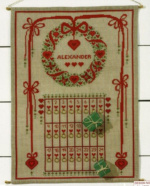 Hearts And Wreath Advent Calendar Cross Stitch Kit By