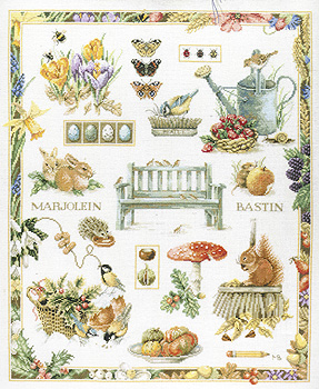 Garden Bench Sampler Cross Stitch Kit By Marjolein Bastin