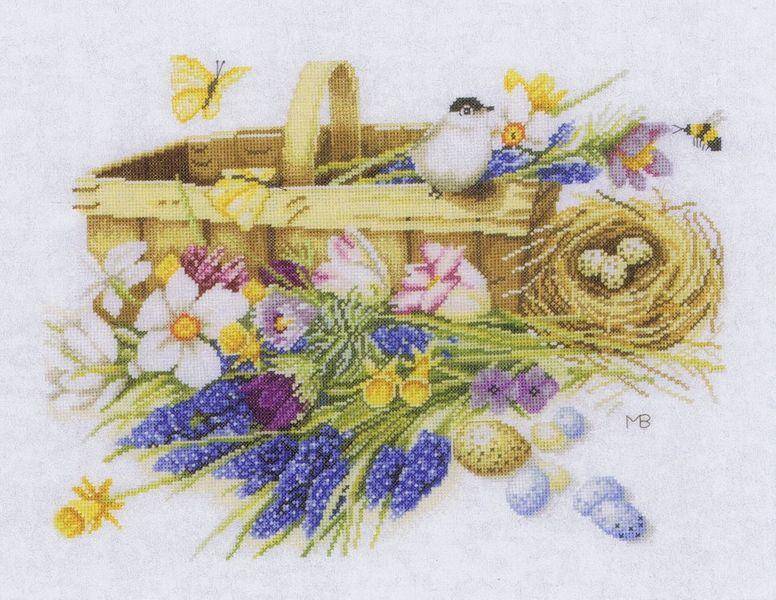 Spring Flowers Basket Cross Stitch Kit By Marjolein Bastin