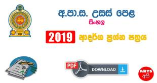 Advanced Level 2019 Sinhala Model Paper