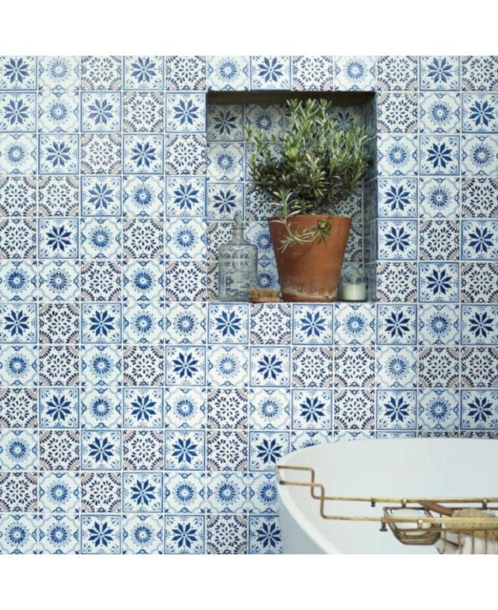 Carrelage Peint A La Main Decor Mexicain Bleu Et Blanc D Aviva 10x10x0 8cm