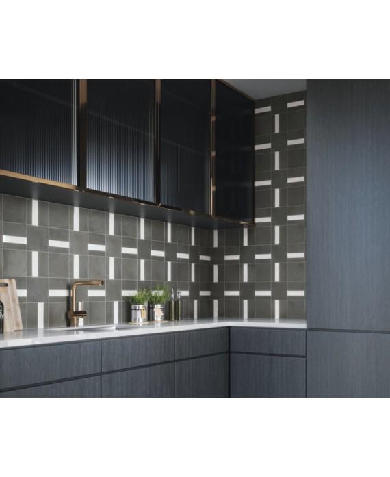 Carrelage Bossele Noir Mat Bande Blanc Brillant 15x15cm Contemporain Mural Apenelly Obsidian