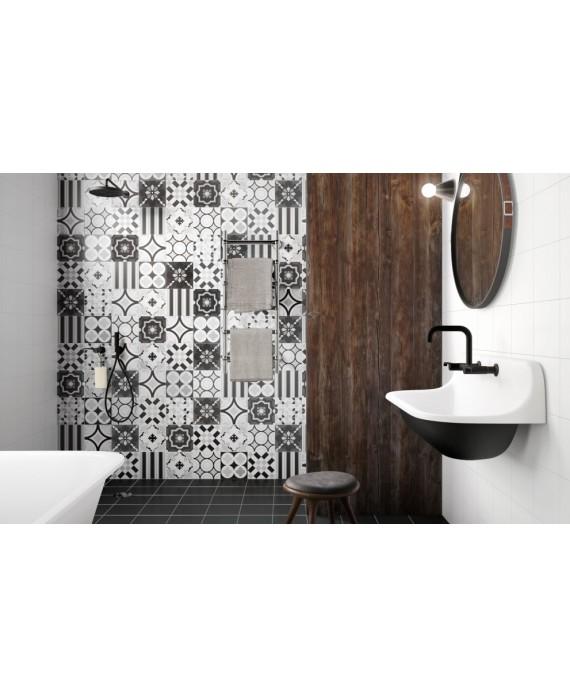 carrelage patchwork noir imitation carreau ciment contemporain 20x20x1cm rectifie r10