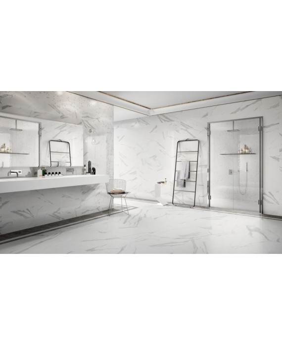 carrelage imitation marbre blanc veine de gris satine 60x60cm rectifie salon statuario venato