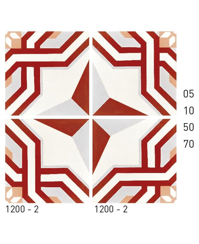 carrelage ciment decor etoile rouge et
