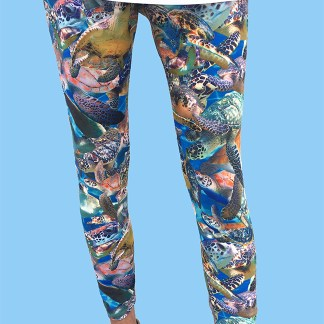 ladies leggings with a camo design with turtles