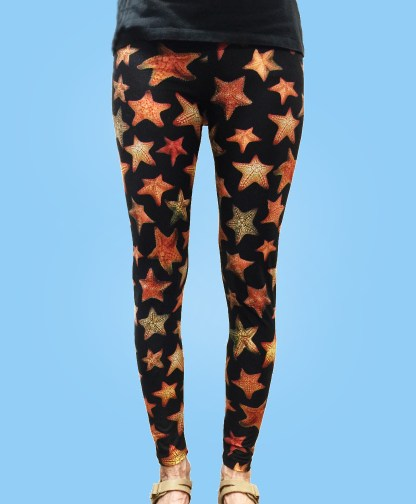 ladies leggings jet black with numerous colorful starfish