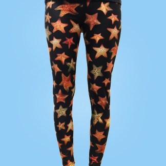 ladies leggings jet black with numerous colorful starfish