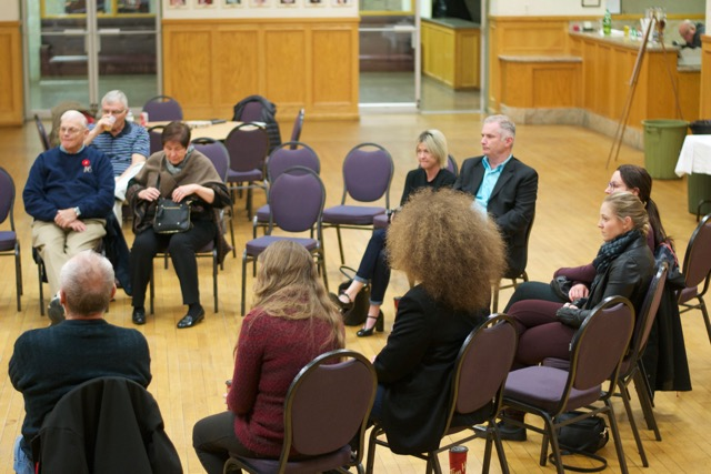 Artists engaged in a roundtable seeking our shared voice in Brantford/Brant – photo courtesy of Sandlyn Publishing & Media