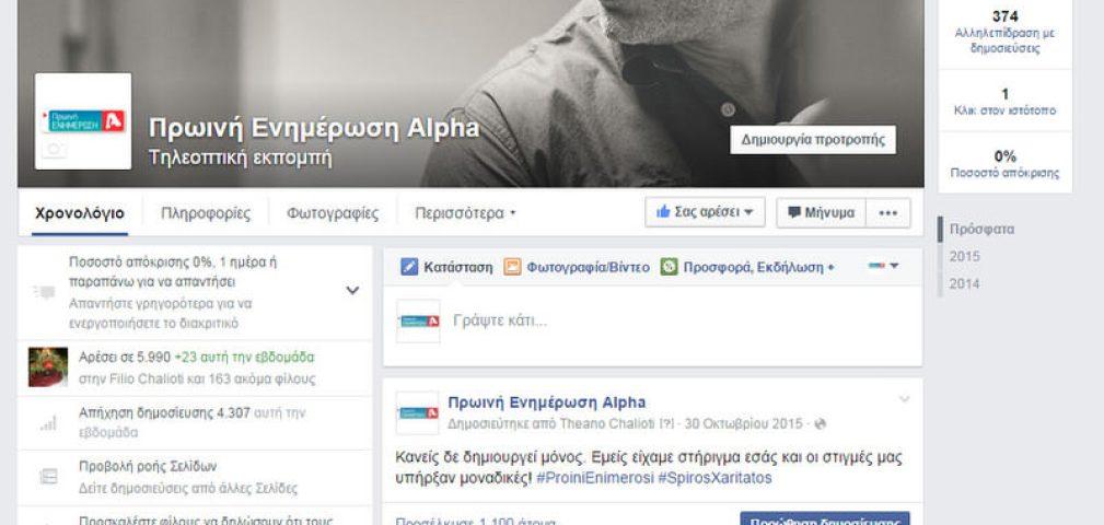 Social Media – Facebook – Πρωινή Ενημέρωση Alpha