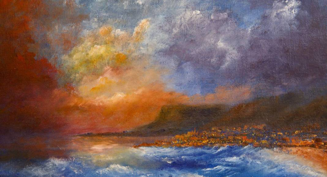 Christian Bruley - Orage au large de Menton 35X27