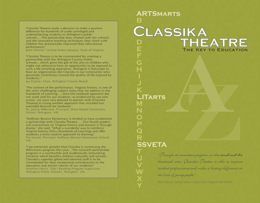 Program cover for Classika outreach event