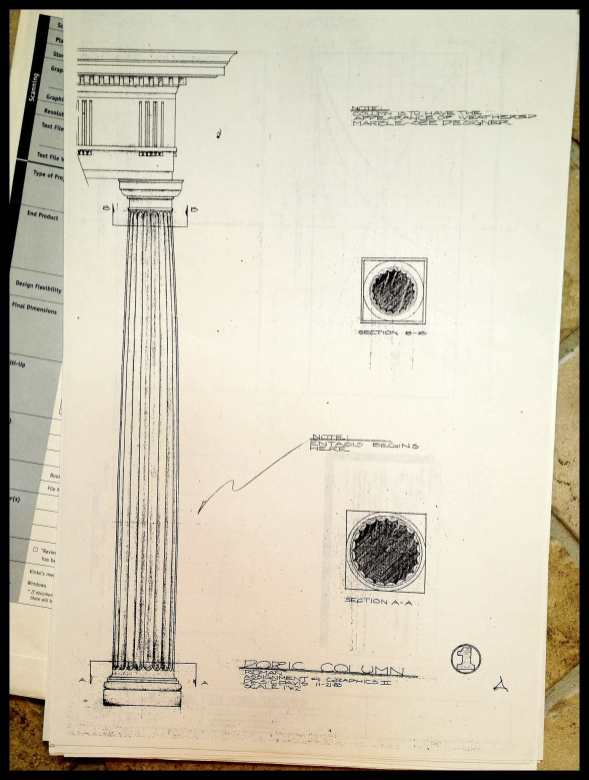 Drafting, entasis of a Roman column
