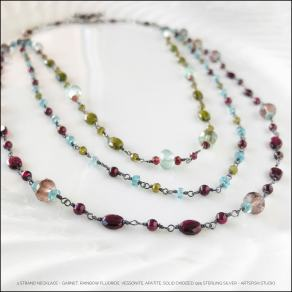 Garnet, fluorite, apatite, vessonite and oxidized sterling silver necklace