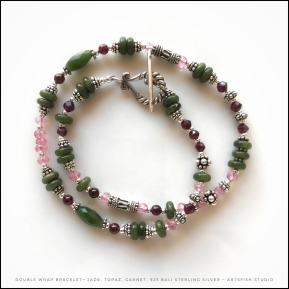 Jade, pink topaz, garnet and sterling silver.