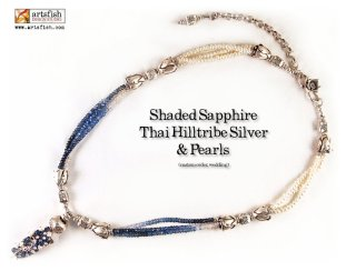 Shaded sapphire wedding necklace with .999 fine silver and pearls