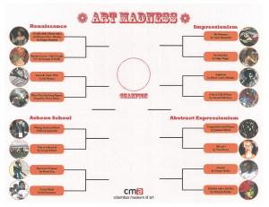 CMA's Art Madness bracket sheet