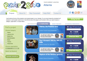A view of the power2give website.