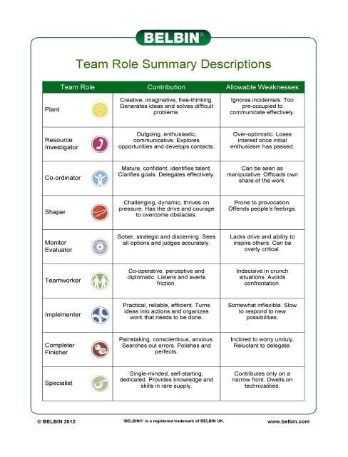 Belbin Team Role Summary Descriptions