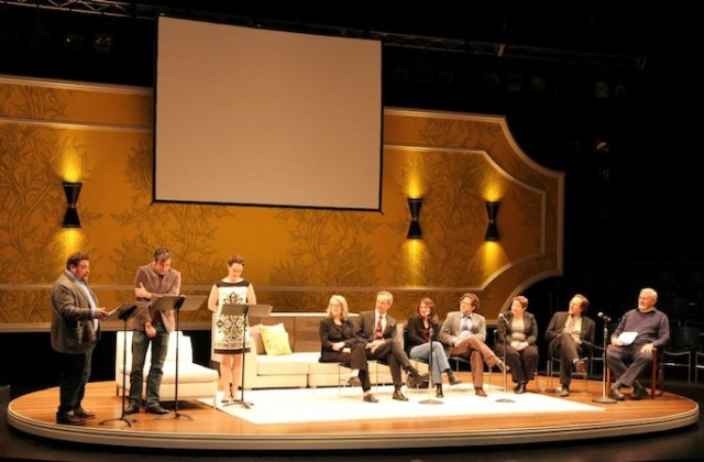 Artists and staff participate together in the season announcement at Geva Theatre Center. Photo: Renée C. Veniskey.