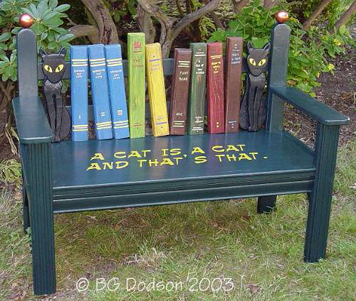 Garden Design Ideas Book Bench Cat Literature Quote Painted Cat in the Hat Dr. Seuss