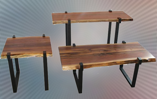amish reclaimed walnut urban reclaimed hardwood slab end coffee sofa tables metal base custom