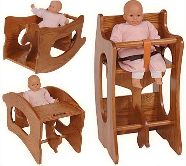 Amish High Chair Rocker Desk