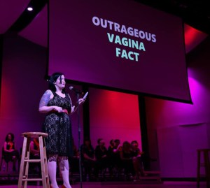 """Katerina Aella in The Vagina Monologues"""" (Photo by Ralph Demilio)"""