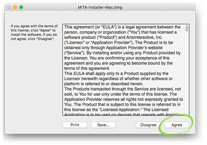 "License agreement with ""Accept"" option circled"