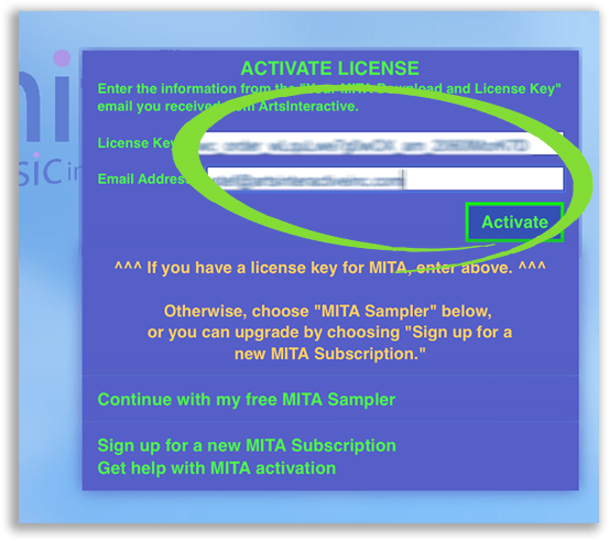 "Screenshot of MITA's ""Activate License"" screen, with the spaces for entering one's license key and email address, as well as the ""Activate"" button, circled"
