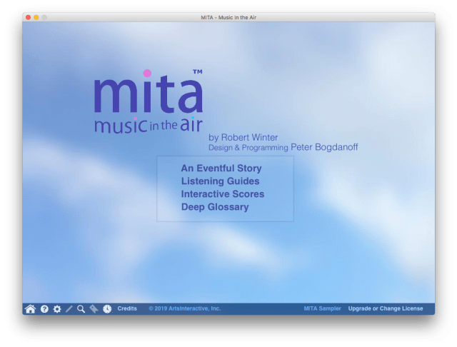Home screen from the free MITA Sampler