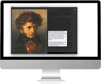 Computer with MITA open, showing image of Hector Berlioz with caption