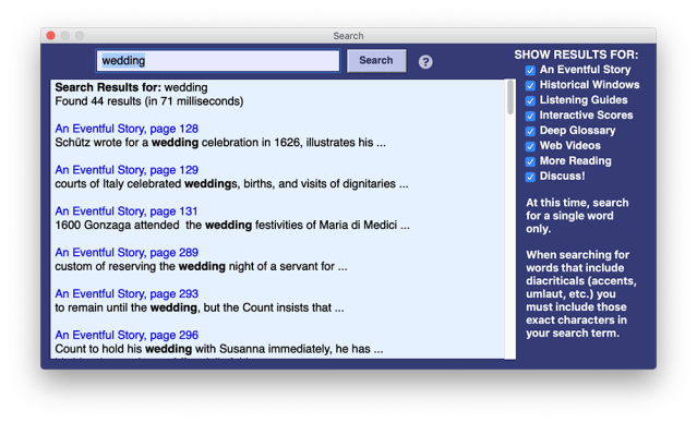 "A search in MITA for all mentions of the word ""wedding."" Six linked results are displayed"