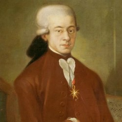 An oil painting of Mozart in his twenties, by an unknown artist. Mozart wears the medallion awarded him by the Pope.
